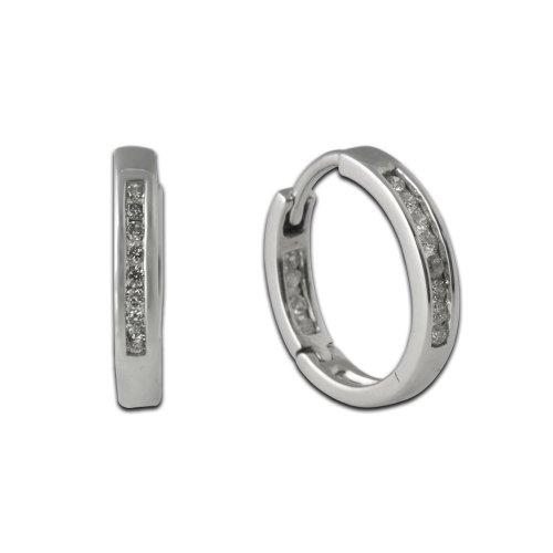 TriJewels Diamond Inside Out Hoop Earrings 0.25 ct tw in 10K White Gold ()