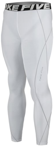 New 016 Skin Tights Compression Leggings Base Layer White Running Pants Mens