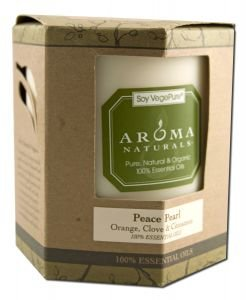 Aroma Naturals Vegepure Color Aromatherapy Candles Peace (Pearl) 3 X 3 1/2 Pillars 60 Hours Burn Time