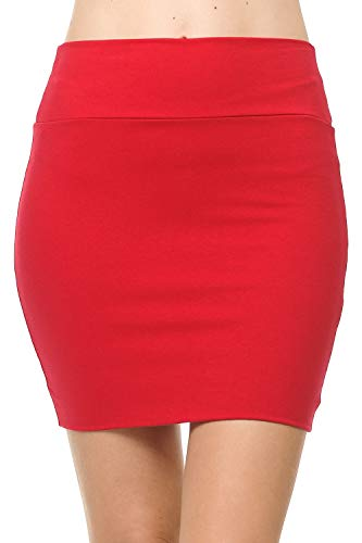 (Fashion Aktiv Basic Double-Layer Cotton Simple Stretchy Tube Pencil Mini Skirt (Small,)