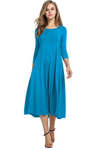 HOTOUCH Women's Casual Plain 3/4 Sleeve Simple Tshirt Loose Dress (Blue M)