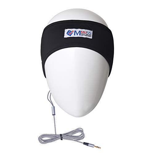 Headband Stereo Headphones - MMUSS Sleep Headphones Stereo Headband with Ultra Thin Speakers.Perfect for Side Sleeper,Sports,Air Travel,Meditation and Relaxation (Black2019)