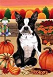 Boston Terrier – by Tomoyo Pitcher, Autumn Themed Dog Breed Flags 12 x 18 For Sale