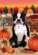 Boston Terrier - by Tomoyo Pitcher, Autumn Themed Dog Breed Flags 12 x 18