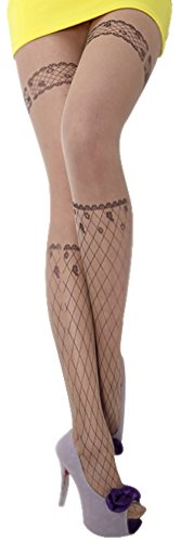 Women's Fun Pattern Printed Tattoo Pantyhose Stockings, Diamond (Pantyhose Printed)
