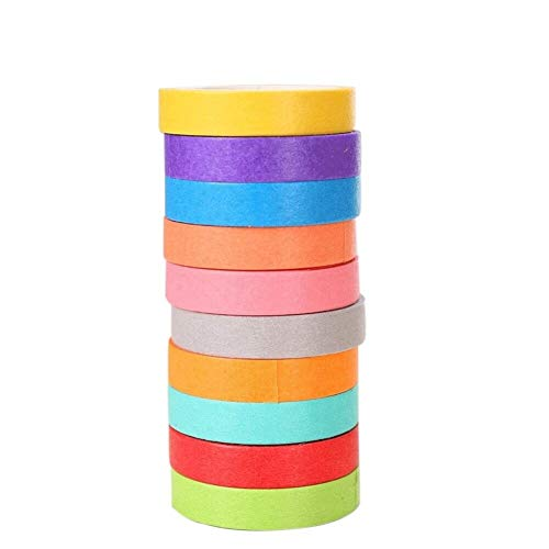 (HUQUAN Cute Candy-Colored Rainbow Tape Hand-Tear and Paper Color Sticker Hand Book (Capacity : Multiple Colour(20)))