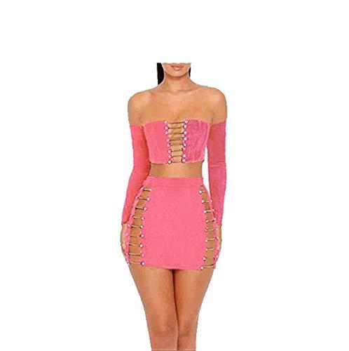 - MAGICMK Suede Mini Long Sleeve Off Shoulder Club Sexy Party Dress (Peach, M)