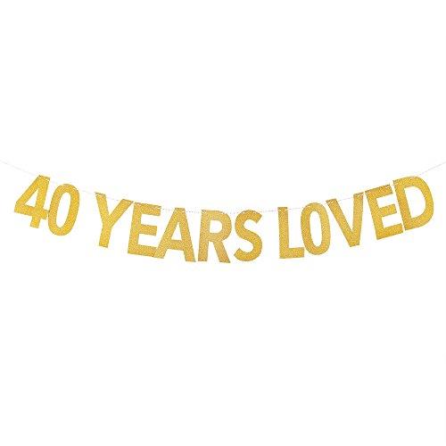 PALASASA 40 Years Loved Banner - Gold Glittery 40th Birthday Party (Lego Spongebob Halloween 5)