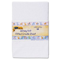 Kids Line Jersey Knit Fitted Cradle Sheet - White