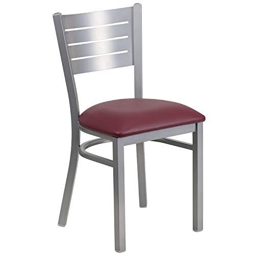- Flash Furniture HERCULES Series Silver Slat Back Metal Restaurant Chair - Burgundy Vinyl Seat