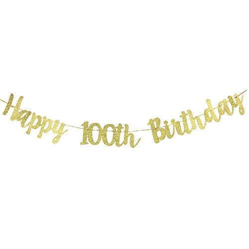 Karoo Jan Happy 100h Birthday Banner Gold Glitter Letters Hang Bunting Party Decorations -