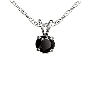 0.75 Carat (ctw) Sterling Silver Round Cut Black Diamond Solitaire Pendant (Chain Included) 3/4 CT