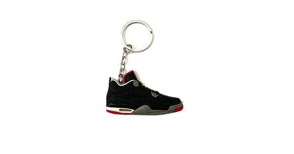 71fe6a7e457 Jordan IV/4 Bred Black/Red LS Sneakers Shoes Keychain Keyring AJ 23 Retro