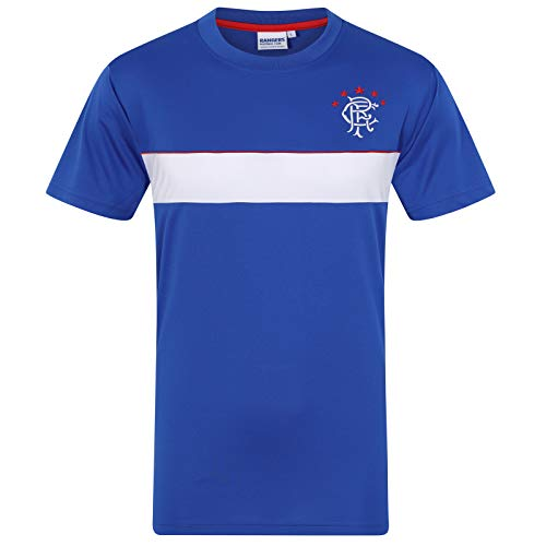 Rangers FC Official Gift Mens Poly Training Kit T-Shirt Royal White Stripe Med.