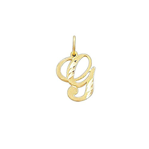 Cursive G Initial Solid 14k Yellow Gold Letter Pendant (14k Yellow Letter Gold)