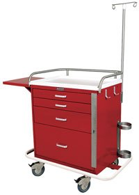 - MSEC by Harloff, 4 Drawer, QUICK SHIP PROGRAM, Short Emergency Specialty Cart Package - Red