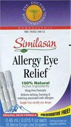 Gouttes Similasan homéopathique allergie Dégagement oculaire à usage unique stérile Eye - 20 par paquet - 1 chacun.