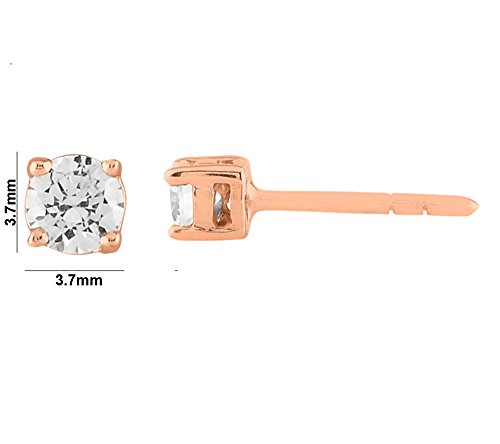 Libertini Boucle d'oreille argent 925 plaque or Rose serti de Diamant en forme de Carrés