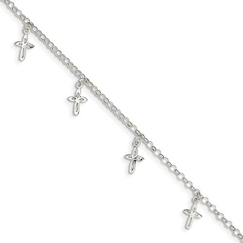 (925 Sterling Silver 9 Cross Religious Anklet Ankle Beach Chain Bracelet Fine Jewelry Gifts For Women For Her)