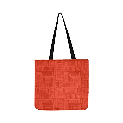Red Rectangle Pattern Seamless Canvas Tote Handbag Shoulder Bag Crossbody Bags Purses For Men And Women Shopping Tote ()
