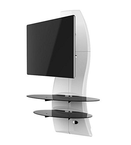 Meuble Mural Orientable avec Bras de Déport pour Écran Plasma/LCD 32 à 63'' - Blanc