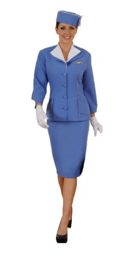 Pan Am Costume (Women's Vintage/Retro Stewardess Outfit S Blue- Limited Quantity)