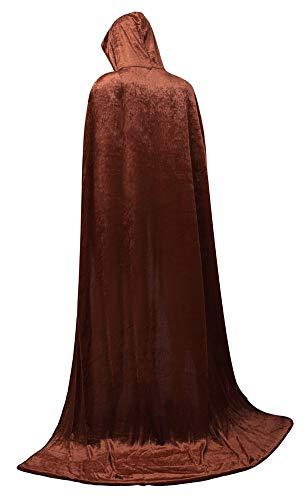(frawirshau Unisex Hooded Cloak Cape Full Length Halloween Cosplay Costumes Masquerade Cloak Brown Velvet)