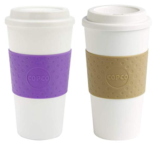 Copco Acadia Double Wall Insulated 16 oz Travel To Go Mug with Non-Slip Sleeve, Set of 2, Commuter Friendly, Drink On the Go (Lilac/Tan)