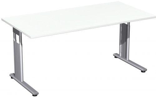 Schreibtisch - 160x80cm - Weiß - Silber