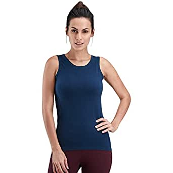 Proyog Blue Cotton Round Neck Tank Top For Women