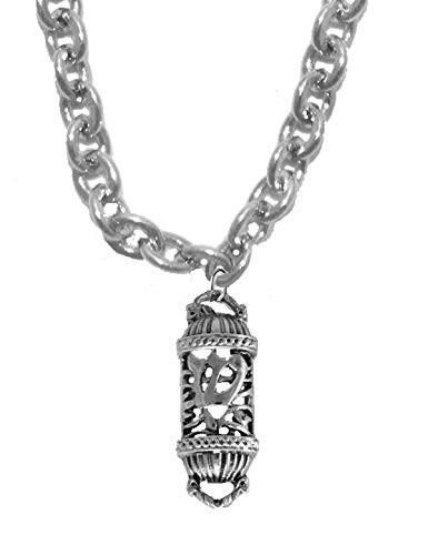 Great Gift, Mezuzah,with the Shin,a smybol for Shaddai, Almighty, one of the names of God, STERLING SILVER Solid .925 Sterling,Not Plated Or Coated. Cable Chain Necklace,Charm-Nickel,Lead,Cadmium Free