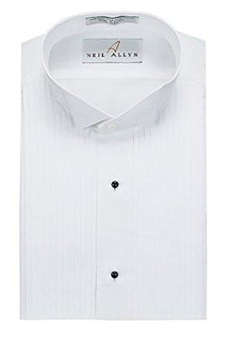 - Men's Tuxedo Shirt Poly/Cotton Wing Collar 1/4 Inch Pleat - (15/15.5 - 30/31)