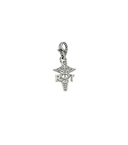 (14k White Gold Rt Caduceus Charm With Lobster Claw Clasp, Charms for Bracelets and Necklaces)
