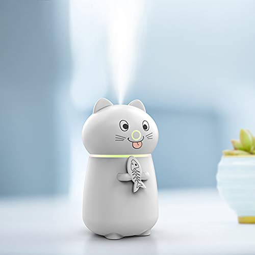 Gotian 300ml Cute Cat 3 in 1 Humidifier LED Humidifier Air Fan Diffuser Purifier Atomizer for Office, Home Living Room, Bedroom
