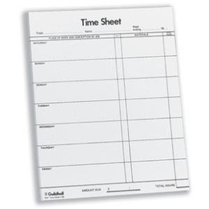 guildhall workmens time sheet 10x8 inches saturday friday pack of