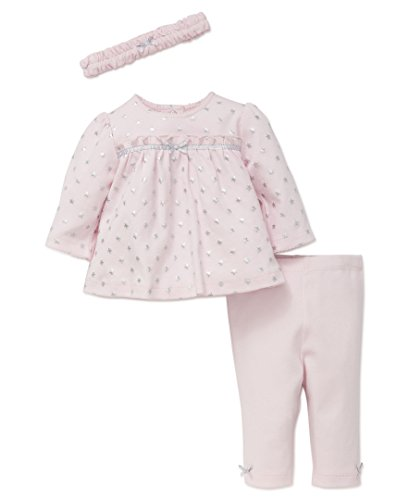 Little Me Baby Girls' 3 Piece Tunic and Legging Set with Headband, Silver Stars, (Star Outfit)