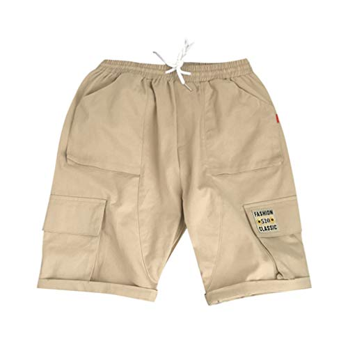 (JJLIKER Men Casual Drawstring Cargo Shorts Multi Pocket Half Pants with Elastic Waist Lightweight Summer Pants Khaki)