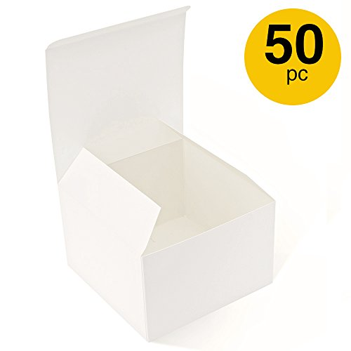 MESHA Recycled Gift Boxes 6x6x4 Inch White Gloss Cardboard Boxes 50PCS Kraft Favor Boxes for Party, Wedding, Gift