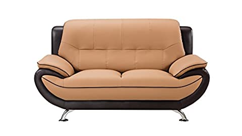 American Eagle Furniture Highland Bonded Leather Living Room Loveseat with Pillow Top Armrests, - Upholstery Living Room Furniture