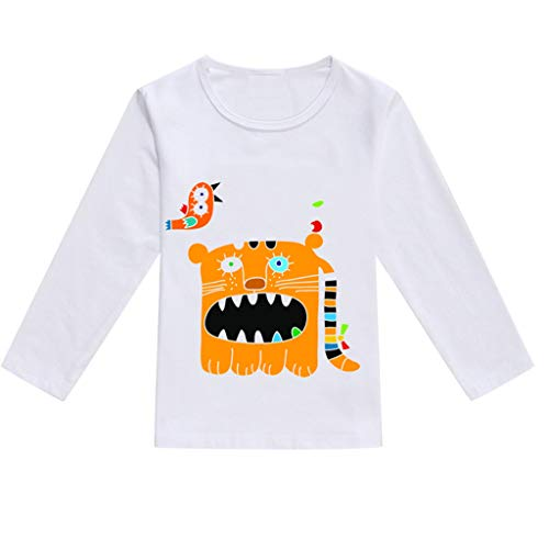 (ANJUNIE Toddler Baby Kids Boys Girls Basic Long Sleeve Round Neck T-Shirt Spring Cartoon Print Tops Casual Clothes(4-Orange,100))