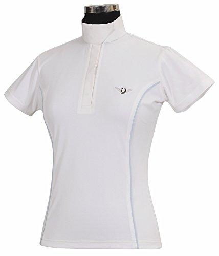 TuffRider Women's Kirby Kwik Dry Short Sleeve Show Shirt, White/Glacier Blue, 1X