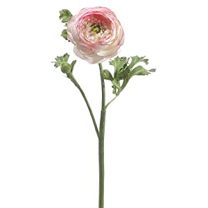 "13"" Handwrapped Silk Ranunculus Flower Spray -Pink/Cream (pack of 12) 85"