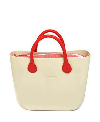 O Bag Classic Ivory with Red Lines Insert and Short Red Handles