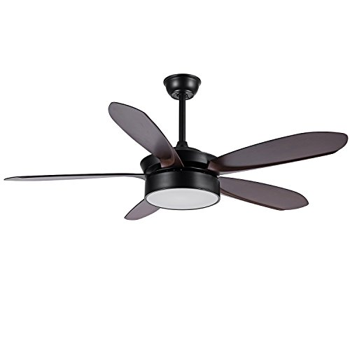 FXY 52 inch LED Ceiling Fan with 3-Color Changing Light & Remote control 5 Dark Brown Blades Ceiling Fan with Sloped Ceiling Kit for Bedroom Living Room Lofts Dinging Room, AC 35W