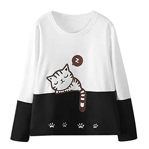 Price comparison product image Forthery Women's Cat Print Sweatshirt Long Sleeve Loose Pullover Shirt Tops Clearance(X-Large, White)