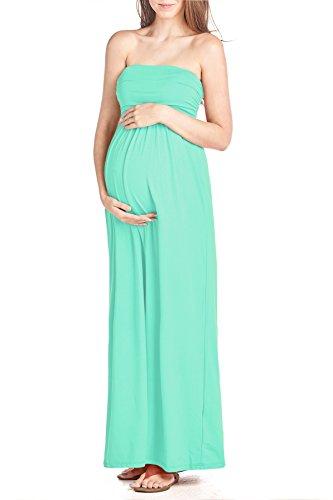 Mint Tube Dress - Beachcoco Women's Maternity Comfortable Maxi Tube Dress (L, Mint)