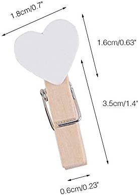 KINGLAKE 100 Pcs White Mini Wooden Heart Clothespins 3.5 cm with Spring Wooden Photo Paper Pegs Craft Clips for Wedding Party Decor with 100 Feet Jute Twine