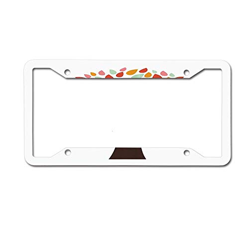 - Jackie Prout ss Colorful Silhouettes of Leaves on an Abstract Tree Figure Nature Springtime Design License Plate Frame Aluminum Car Tag for US Canada Vehicles 4 Holes and Screws
