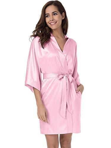 Pink Shower Lingerie (SIORO Women's Satin Robe,Silky Kimono Bathrobe for Bride Bridesmaids,Wedding Party Loungewear Short, Pink S)