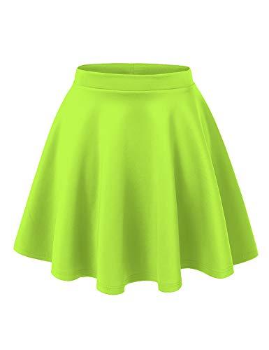 MBJ WB211 Womens Basic Versatile Stretchy Flared Skater Skirt S NEON_Lime